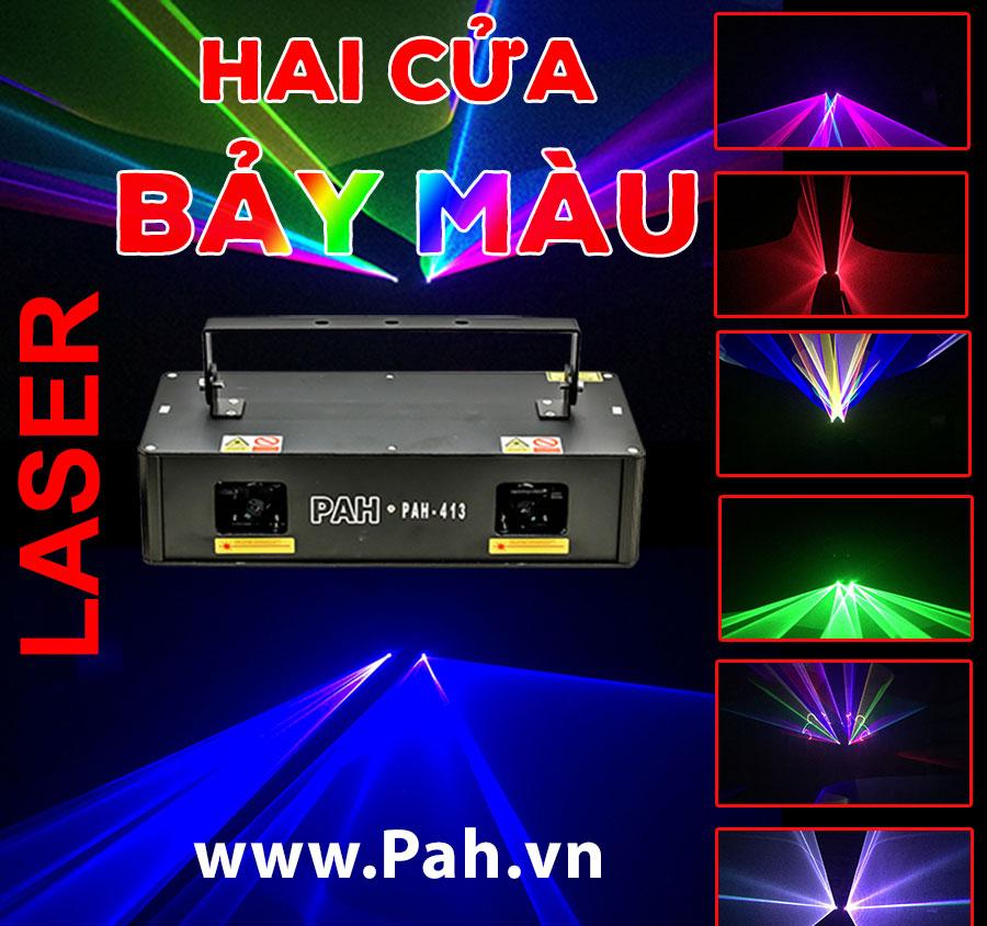 Đèn laser quét tia 2 cửa 7 màu