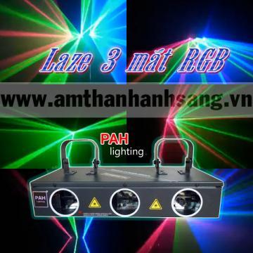 Đèn Laser 3 Mắt RGB, quét tia cực rộng
